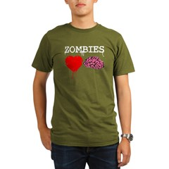 Zombies heart brains Organic Men's T-Shirt (dark)