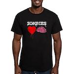 Zombies heart brains Men's Fitted T-Shirt (dark)