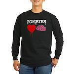 Zombies heart brains Long Sleeve Dark T-Shirt