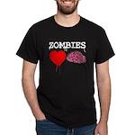 Zombies heart brains Dark T-Shirt