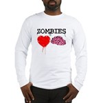 Zombies heart brains Long Sleeve T-Shirt