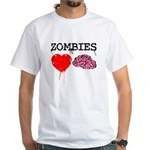 Zombies heart brains White T-Shirt