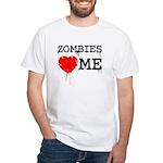 Zombies heart me White T-Shirt