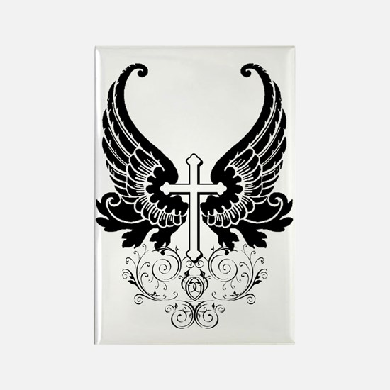 CROSS WITH WINGS Rectangle Magnet