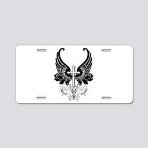 CROSS WITH WINGS Aluminum License Plate