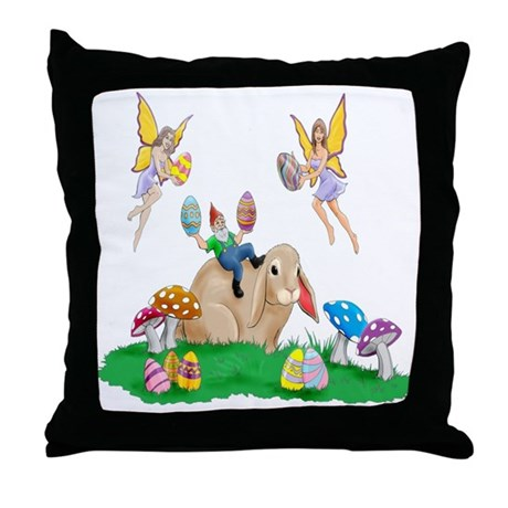 Easter Bunny & Friends Throw Pillow