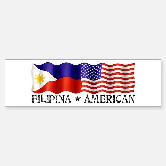 Fil Am Flag - Bumper Car Car Sticker