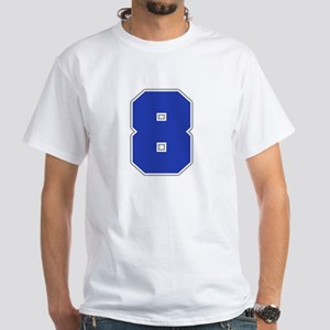 """""""Number 8"""" White T-shirt"""