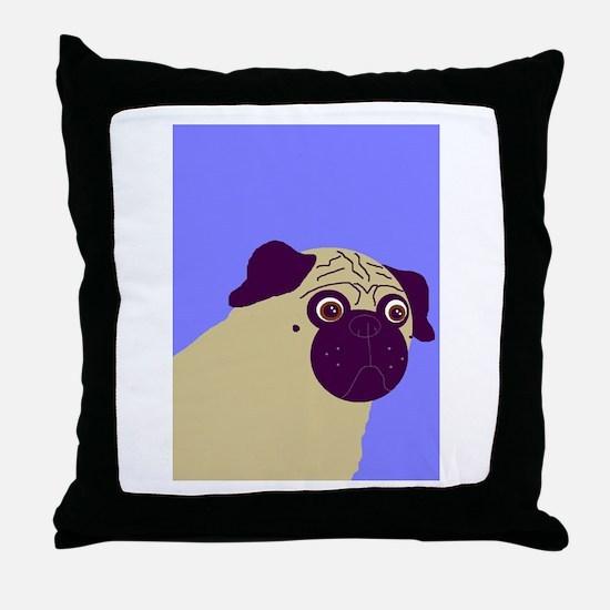 Blue Pug Throw Pillow