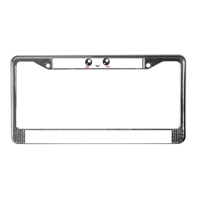 Japanese Anime Smiley License Plate Frame by InspirationzStore