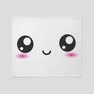 Japanese Anime Smiley Throw Blanket