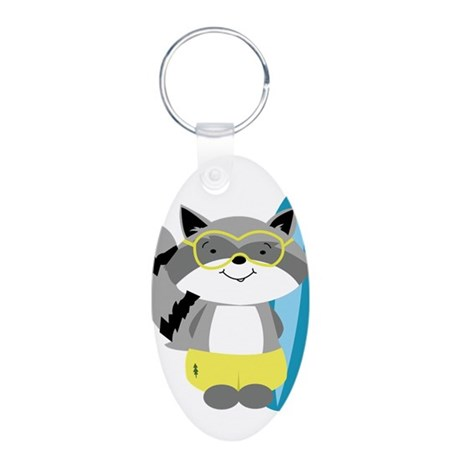 Raccoon with Surfboard Aluminum Oval Keychain