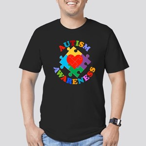 Autism Awareness Heart Men's Fitted T-Shirt (dark)