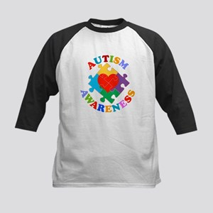 Autism Awareness Heart Kids Baseball Jersey