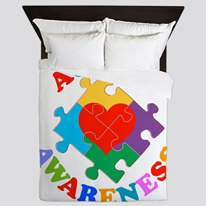 Autism Awareness Heart Queen Duvet