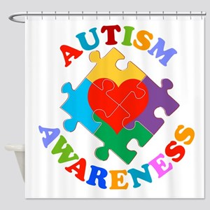Autism Awareness Heart Shower Curtain