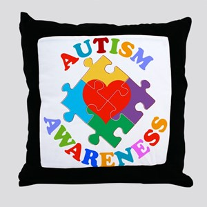 Autism Awareness Heart Throw Pillow