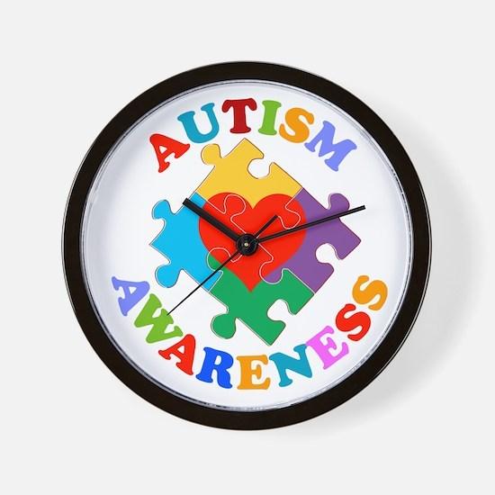 Autism Awareness Heart Wall Clock