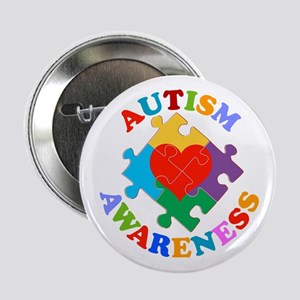 "Autism Awareness Heart 2.25"" Button"