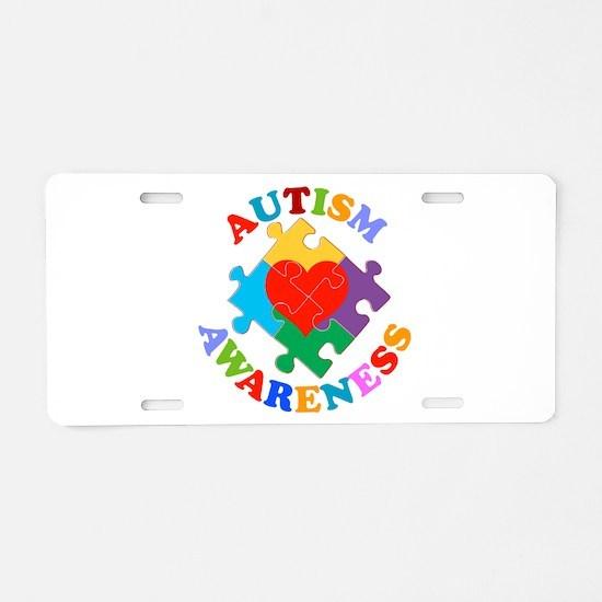 Autism Awareness Heart Aluminum License Plate