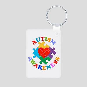 Autism Awareness Heart Aluminum Photo Keychain
