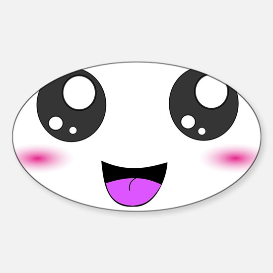 Happy Kawaii Smiley Face Sticker (Oval)