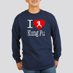 I Love Kung Fu Long Sleeve Dark T-Shirt