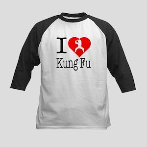I Love Kung Fu Kids Baseball Jersey