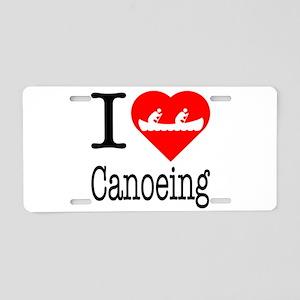 I Love Canoeing Aluminum License Plate