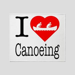 I Love Canoeing Throw Blanket