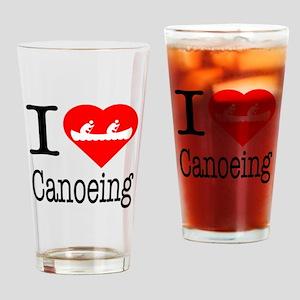 I Love Canoeing Drinking Glass