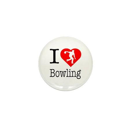 I Love Bowling Mini Button