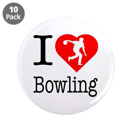 """I Love Bowling 3.5"""" Button (10 pack)"""