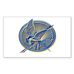 Silver Mockingjay Sticker (Rectangle)