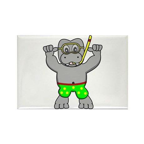 Hippo Snorkel Rectangle Magnet (10 pack)