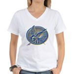 Silver Mockingjay Women's V-Neck T-Shirt
