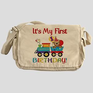 First Birthday Bear Train Messenger Bag
