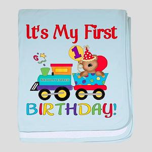 First Birthday Bear Train baby blanket
