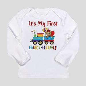 First Birthday Bear Train Long Sleeve Infant T-Shi