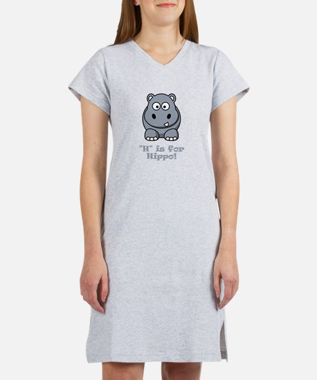 H is for Hippo! Women's Nightshirt