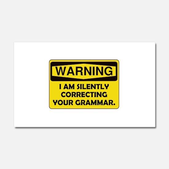 Warning Grammar Car Magnet 20 x 12