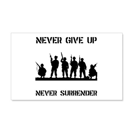 Never Give Up Military 22x14 Wall Peel