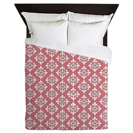 Pink/White Damask Pattern Queen Duvet Cover