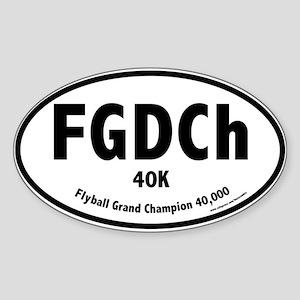 FGDCh 40K, Flyball Grand Champ. 40K, Oval Sticker