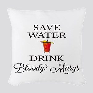Save Water Drink Bloody Marys Woven Throw Pillow
