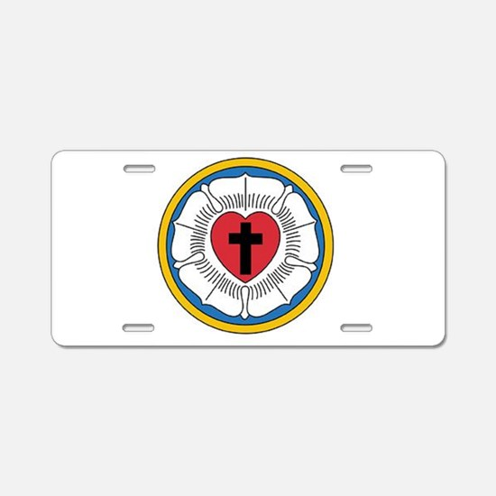 Luther's Rose Aluminum License Plate