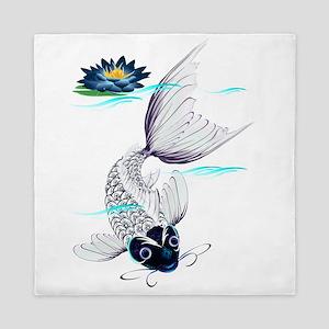White Koi-Blue Lily Queen Duvet