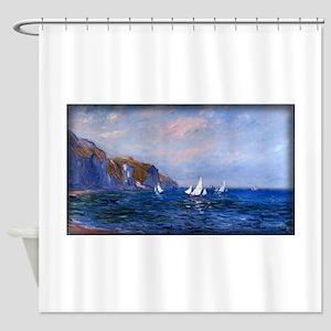 Cliffs and Sailboats at Pourville, Monet, Shower C