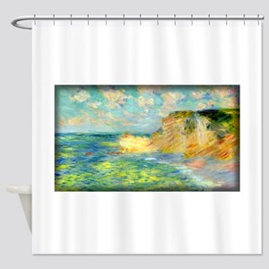 Monet Painting, Cliffs at Amont, Shower Curtain