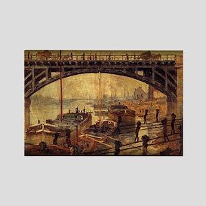 Monet Painting, Coal Dockers, 1875, Rectangle Magn